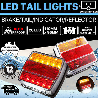 2X Submersible/Waterproof 26 LED Stop Tail Lights Kit Boat Truck Trailer Lamp AU