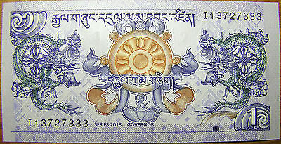 Bhutan 1 Ngultrum 2013 Banknote Bhutanese Rare Scarce Paper Money New UNC