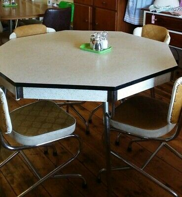 Laminex Octagonal Dining Table with 6 Vinyl Chairs Vintage / Retro