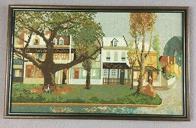 Retro Vintage Framed Cross Stitch - Town Houses & Trees 65mm x 35mm