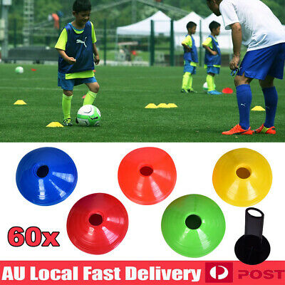 60pcs Fitness Exercise Sports Training Discs Markers Cones Soccer Rugby 19cm