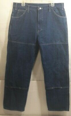 204c6392c11 DICKIES Mens Relaxed Fit Workhorse Double Knee Denim Jeans Sz. 36 x 29