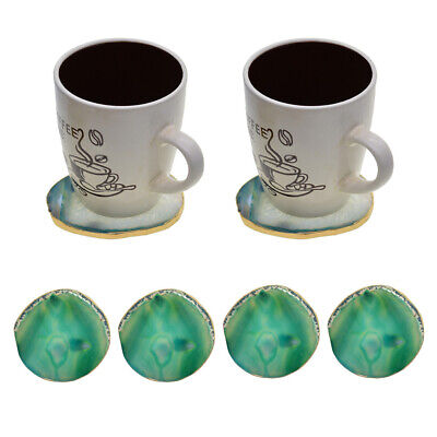 3x Gold Edge Agate Slice Crystal Coaster Cup Mat Coffee Tea Place mat White