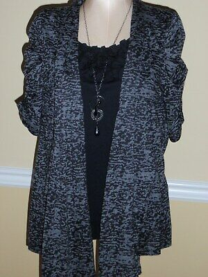 1X NEW DIRECTIONS Top Gray Black Ruched Ruffle ANIMAL Bust 43 inches 2 piece SET