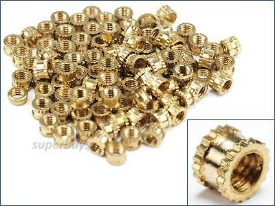 100pcs M3 3mm Solid Brass Knurled Nuts Threaded Embedded Round Insert