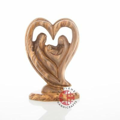 Olive Wood Heart Shaped Statue of the Holy Family (Abstract)
