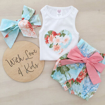 UK Stock Toddler Baby Girls Summer Floral Clothes Vest Tops Shorts Pants Costume