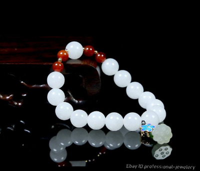 1cm China Natural HeTian jade Hand-carved Bracelet Hand chain jewelry PDDE