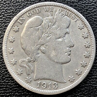 1913 Barber Half Dollar 50c Rare Key Date Better Grade #13505