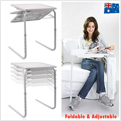 Foldable Table Adjustable Tray Portable Folding Laptop Desk TV Dinner Bed Sofa