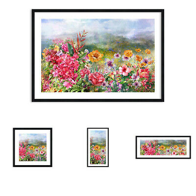 PINK RAIN ROSE FLOWER CANVAS PICTURE PRINT CHUNKY FRAME #3843