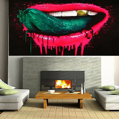 Art Painting Original Street Tongue Lips Abstract Urban Canvas Australia by Pepe