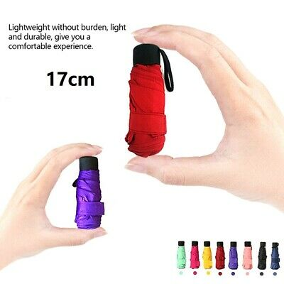 Super Mini Pocket Compact Umbrella Sun Anti UV 5 Folding Rain Windproof Travel