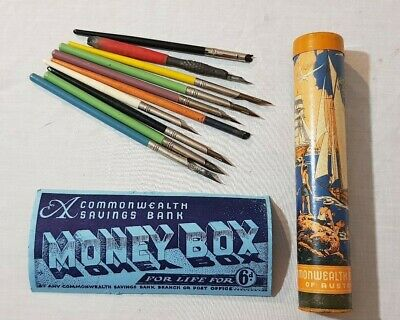 Early Vintage Commonwealth Savings Bank Pencil Case Tube / Money Box Tube