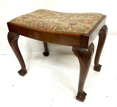 Antique Victorian Walnut Dressing Table Stool Footstool Tapestry Upholstered