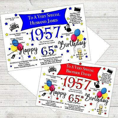65th Birthday 1954 Year Card Personalised Dad Husband Brother Any Role