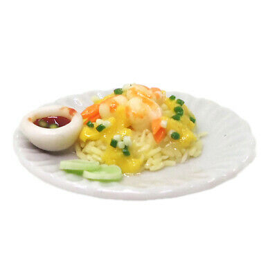 MagiDeal 1/12 Dollhouse Miniature Kitchen Foods Seafood Fried Rice with Egg