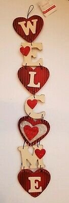 """Ashland Valentine's day wall decor. Welcome with hearts. 25 1/2"""" L×4.25"""" W"""