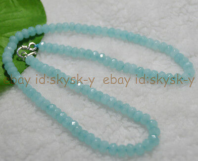 """Long 22"""" 4x6mm Blue Aquamarine Faceted Roundel Gems Beads Necklace Silver Clasp"""
