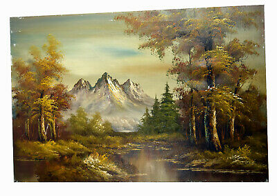 """36"""" Large Oil Painting Signed Harford Amazing Mountainscape Winter Forest Snow"""