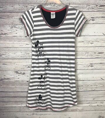 fb8cb0d387 Disney Store Women s Mickey Mouse Gray Striped Nightshirt Night Gown Size XS