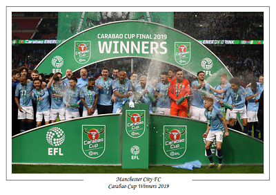 Manchester City FC 2019 Carabao Cup Winners League Cup Poster Print