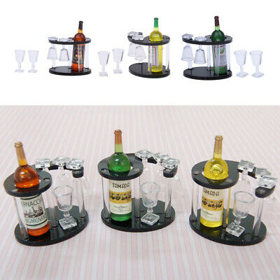 MagiDeal 3 Set 1/12 Dollhouse Champagne Bottle Wine Rack Four Glass Cups