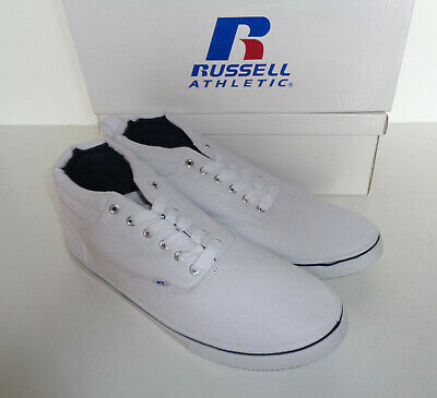 Mens Russell Athletic Trainers White Mid Cut Lace Up New Shoes UK Sizes 9 10 11