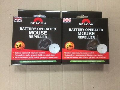 2 x Beacon Rentokil Battery Operated Mouse Rodent Repeller Deterrents
