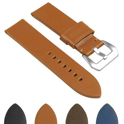 StrapsCo Heavy Duty Men's Thick Leather Watch Band - Quick Release Strap