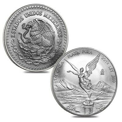 Lot of 2 - 2019 1/4 oz Mexican Silver Libertad Coin .999 Fine BU