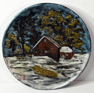 """13"""" Vintage Byron Mold Large Relief Ornate Plate Old Wooden Cottage Houses Decor"""