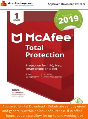 McAfee Total Protection Software 2019 1 Device 1 Year Licence - NEW