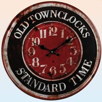 Metal Retro 3d Wall Clock Old Town 40cm Watch Shabby Used Look New
