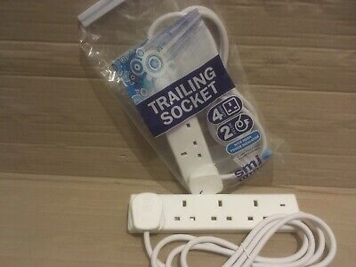 Pack Of 2 Uk Mains Power Extension Lead Cable Electric Plug Socket 4 Gang Way 2M