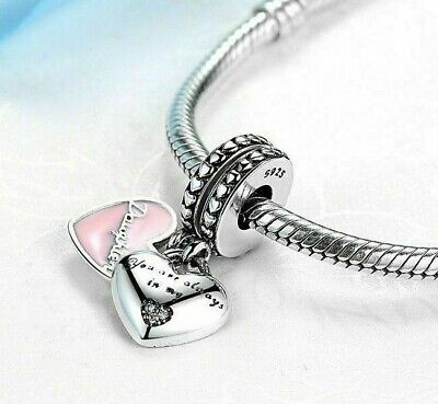 925 Sterling Silver Mother & Daughter love heart Pink Pendant Charm Set+gift box