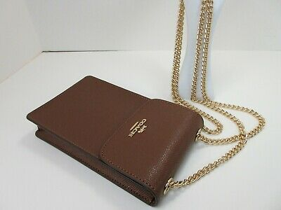 9132c79d COACH CROSSGRAIN LEATHER North South Phone Crossbody~Saddle~37543~Nwt