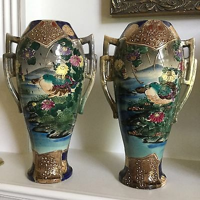 Antique Japanese Porcelain Moriage Nippon Vases LARGE 19th C. Hand Painted