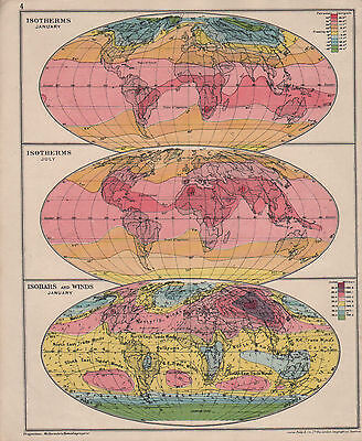 1928 Mapa Gráfico ~ Isotherms Enero & Julio ~ Isobars & Winds Jan