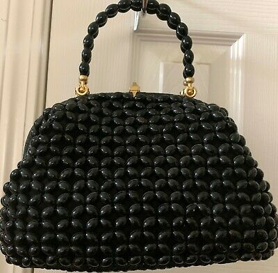Gently Used Pre-Owned Black Beaded Hand Bag with gold hardware - Macy Associates