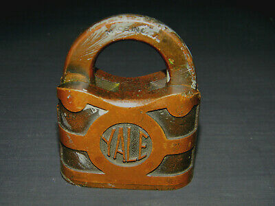 Large Antique Yale & Town Padlock Brass Lock 2 5/8 inches tall