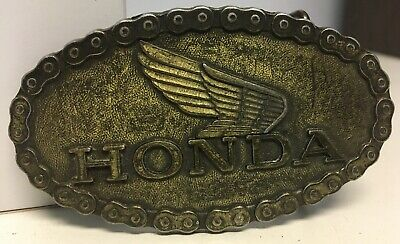 Vtg HONDA Goldwing Trail 90 CB Motorcycle Chain Wings Bad Ass Biker Belt Buckle