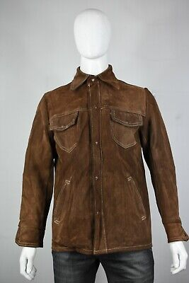 6d5353db0fd16 Vintage Schott Rancher Giacca di pelle 40 M Marrone Patina Made in USA Uomo