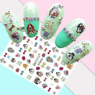 Nail Art Stickers Transfers 3D Self Adhesive Cute Dogs (XF3053)
