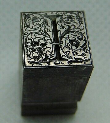 "Vintage Letterpress Printing Block Fancy ""I"" Initial Monogram ALL Metal"