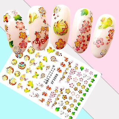 Nail Art Stickers Transfers 3D Self Adhesive Butterflies Lanterns (XF3058)