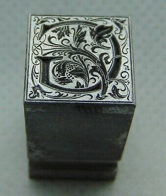 "Vintage Letterpress Printing Block Fancy ""G"" Initial Monogram ALL Metal"