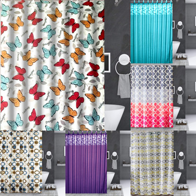 """1Pc New Bathroom Bath Fabric Shower Curtain 70"""" X 72"""" With Hooks Ready To Hang"""