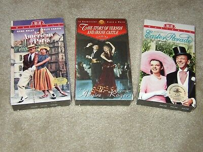 3 New Sealed Classic VHS Easter Parade, American In Paris, Vernon & Irene Castle