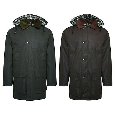 Mens Knee Length Water Repellent Waxed Cotton Wax Warm Coat Jacket upto 5XL